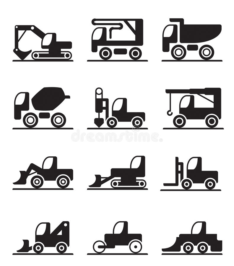 Caminhões e veículos da construção ilustração royalty free