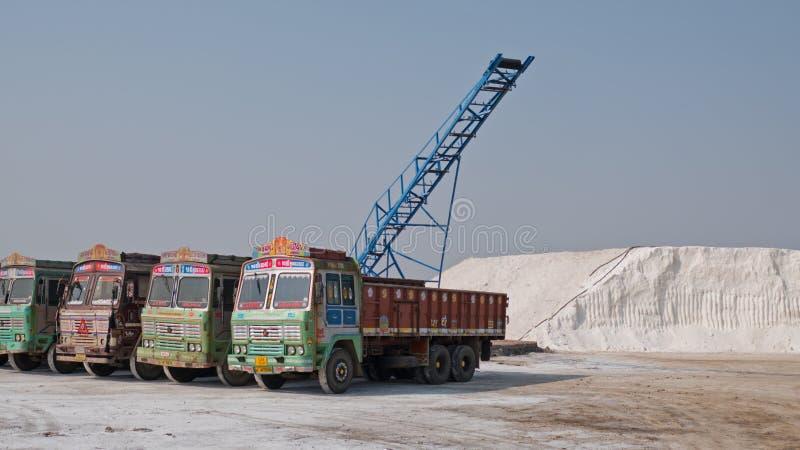 Caminhões em trabalhos de um sal do Gujarati imagem de stock