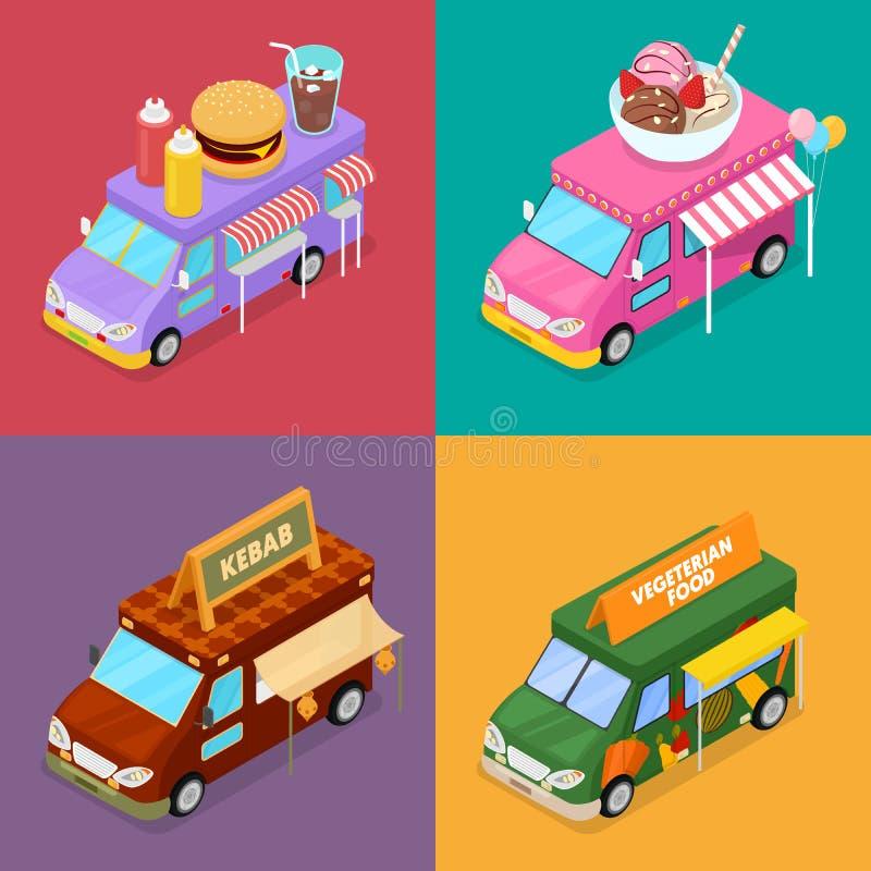 Caminhões isométricos do alimento da rua com alimento de Vegeterian, hamburguer, no espeto e café do gelado ilustração do vetor