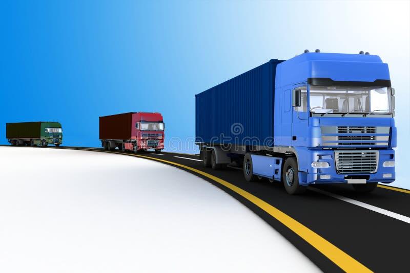 Caminhões na autoestrada Conceito da logística, da entrega e do transporte ilustração stock