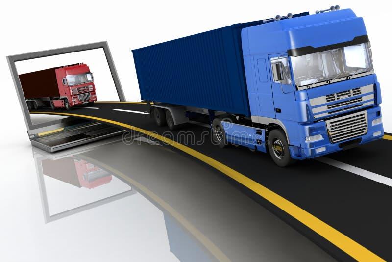 Caminhões na autoestrada que sai de um portátil ilustração stock