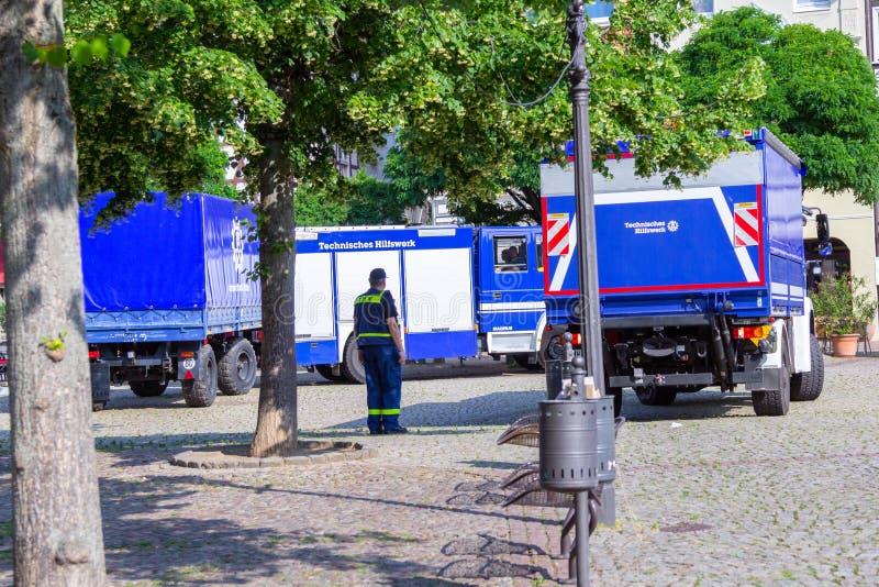 Caminhões técnicos alemães do serviço de urgências imagens de stock royalty free