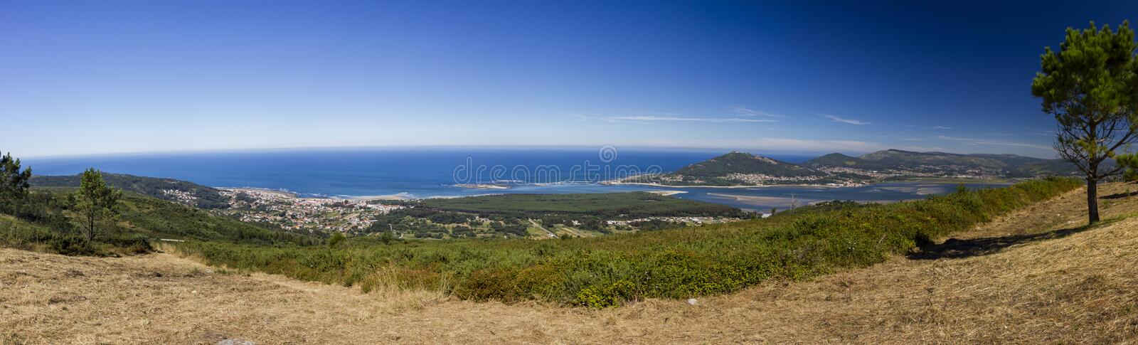 View over the Atlantic and Minho river from the mountains royalty free stock photography