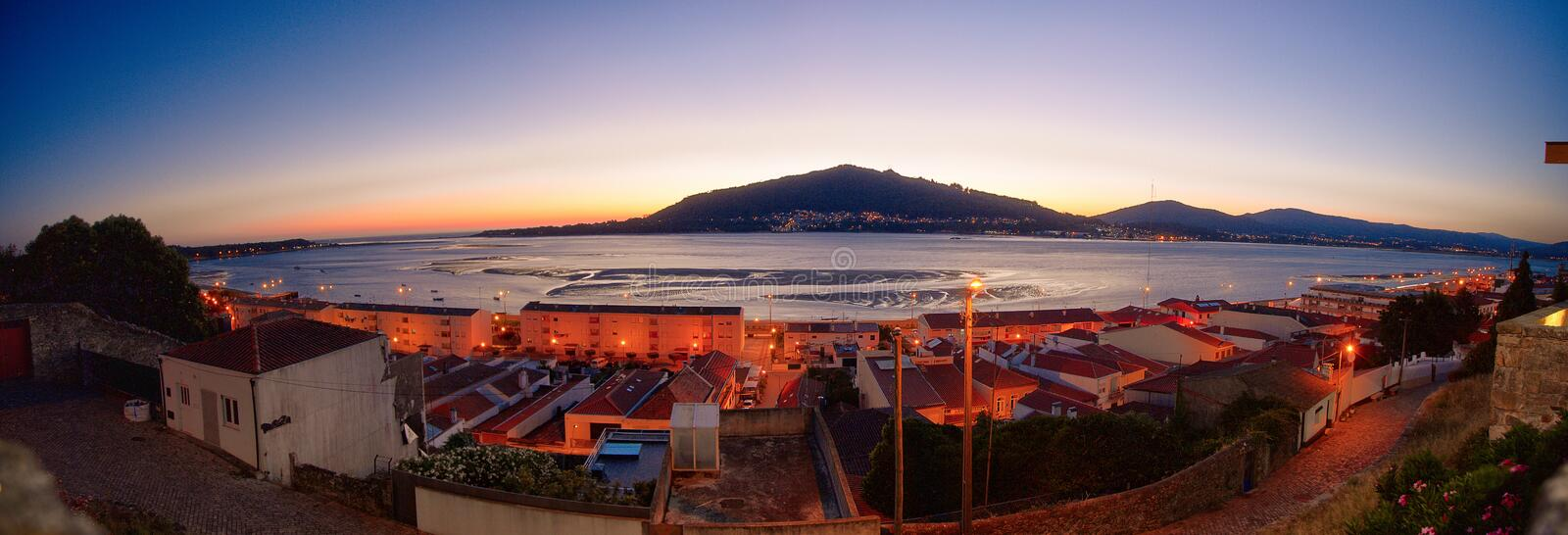 Caminha town and Minho river`s mouth stock image