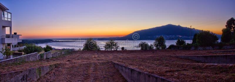 Panorama over river Minho mouth, Caminha, Portugal stock photography