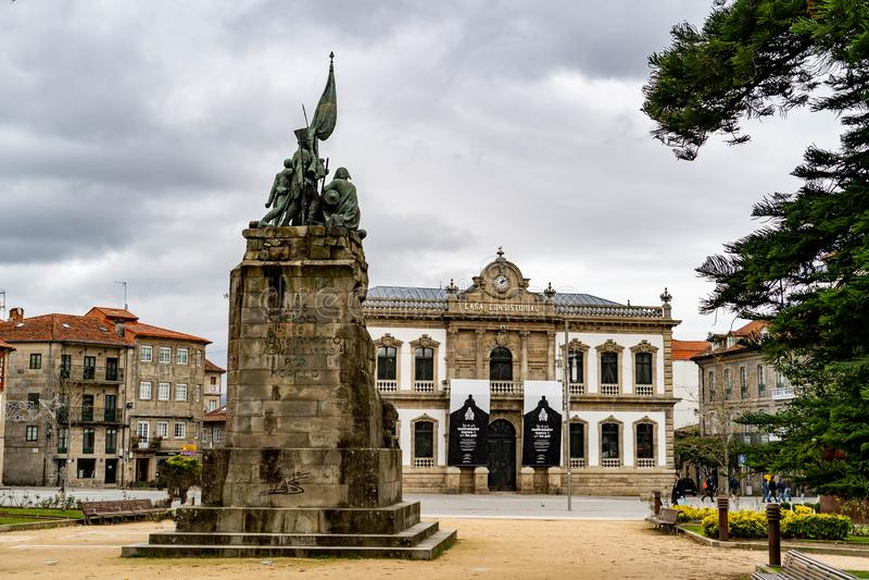 Caminhada através das ruas da cidade de Pontevedra em Galiza, Espanha fotos de stock