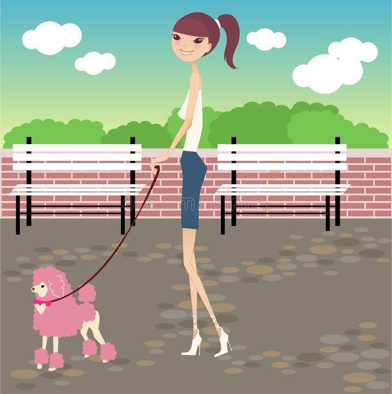 Caminhada com cão ilustração do vetor
