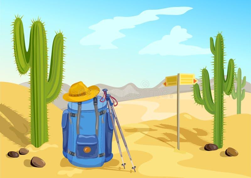 Caminhada com uma trouxa curso através do deserto com cactos ilustração do vetor
