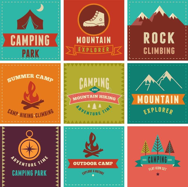 Caminhada, crachás do acampamento, ícones, fundos e ilustração stock