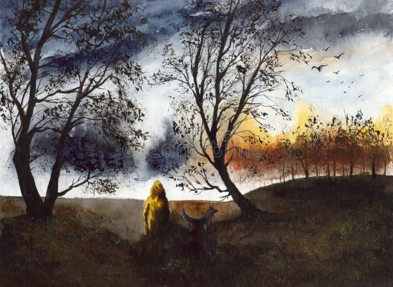 Caminhada da aquarela com um cão no dia chuvoso ilustração stock