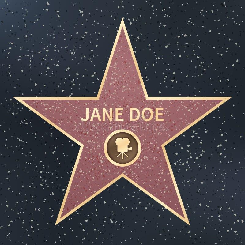 Caminhada da celebridade do ator do filme de Hollywood da estrela da fama Ilustração do vetor ilustração stock