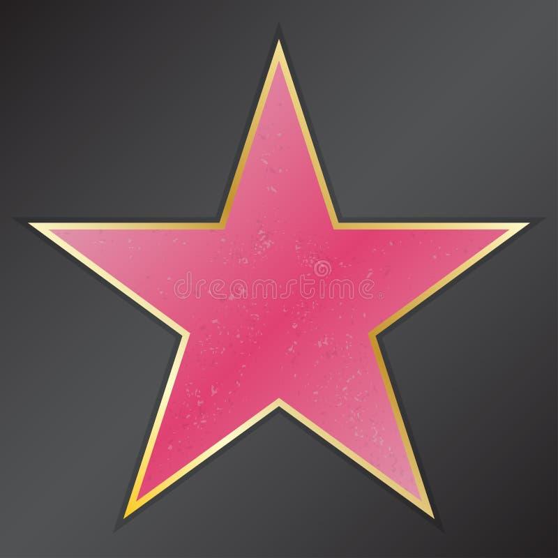 A caminhada da estrela da fama com emblemas simboliza cinco categorias Hollywood, passeio famoso, ator do bulevar Ilustração do v ilustração do vetor