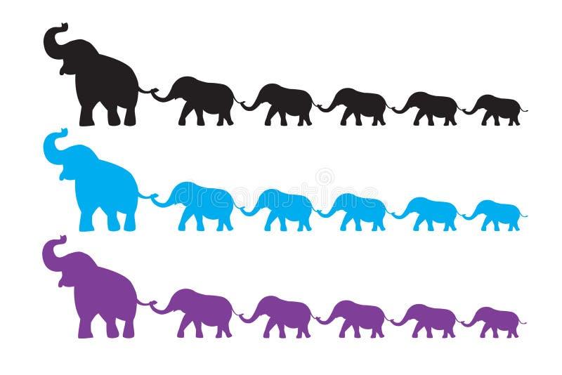 Caminhada da família do elefante ilustração do vetor