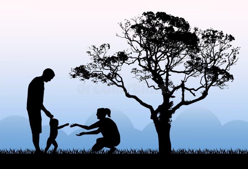 Caminhada da família e felicidade da paternidade ilustração stock