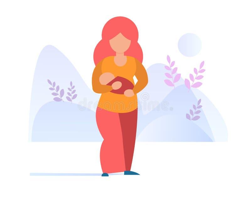 A caminhada da mulher com uma mãe do bebê guarda o bebê em seu vetor dos braços cartoon Arte isolada no fundo branco ilustração royalty free