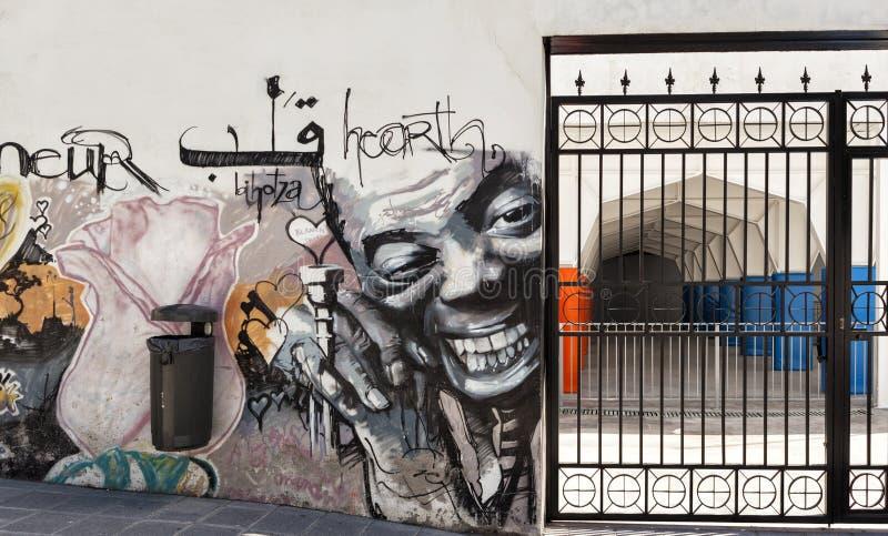 Caminhada da rua dos grafittis em Granada com Louis Armstrong fotos de stock royalty free