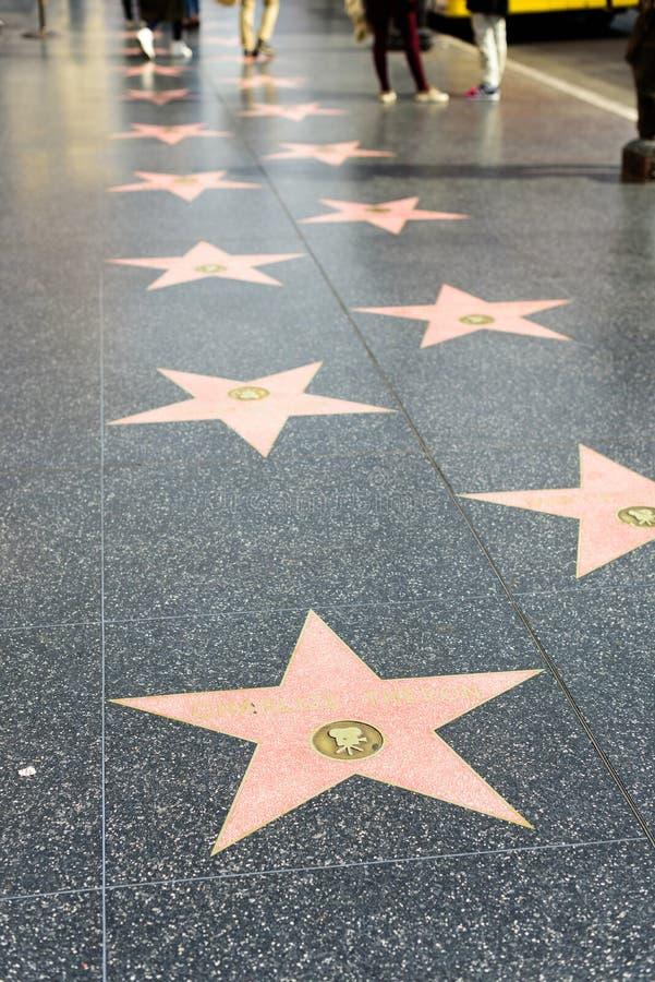 Caminhada de estrelas da fama na caminhada de Hollywood da fama fotos de stock