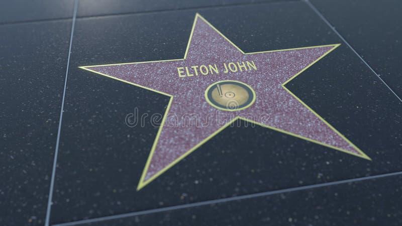 Caminhada de Hollywood da estrela da fama com inscrição de ELTON JOHN Rendição 3D editorial ilustração do vetor