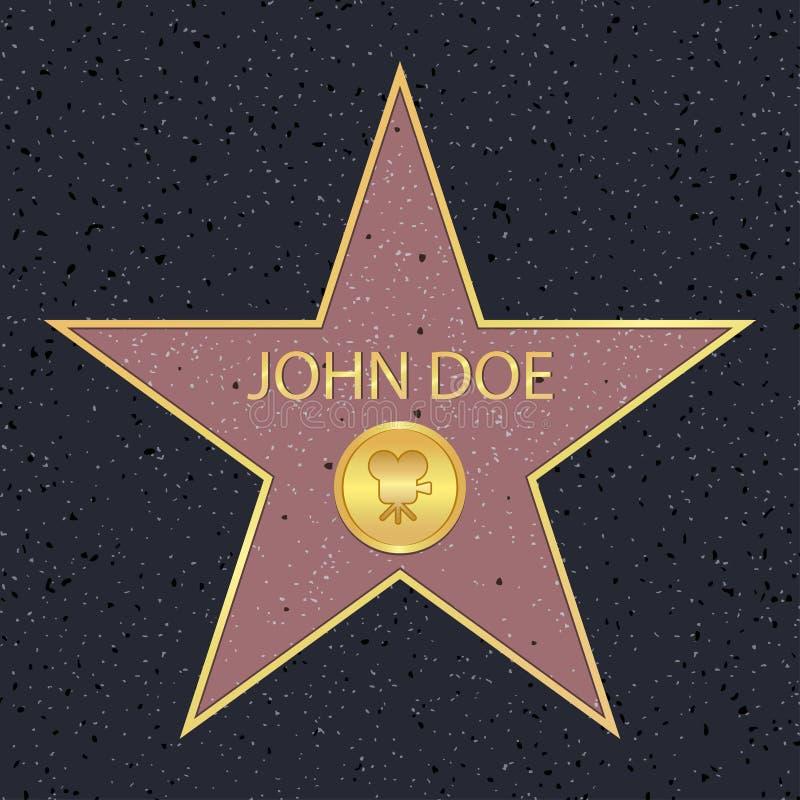 Caminhada de Hollywood da estrela da fama para o ator do filme Passeio famoso com símbolo da recompensa da celebridade Vetor ilustração royalty free