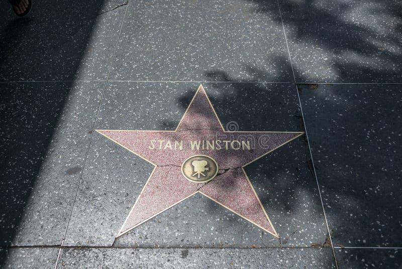 Caminhada de Hollywood da fama Estrelas do ouro de atores famosos imagem de stock royalty free