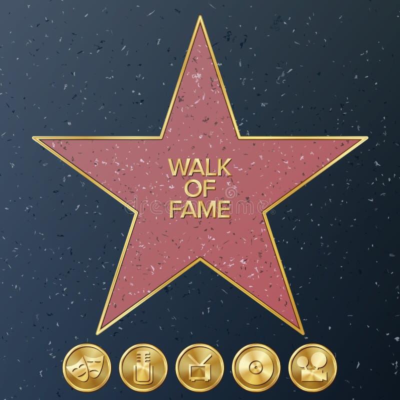Caminhada de Hollywood da fama Ilustração da estrela do vetor Bulevar famoso do passeio ilustração royalty free