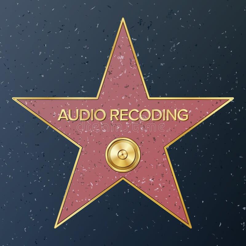 Caminhada de Hollywood da fama Ilustração da estrela do vetor Bulevar famoso do passeio Registro de fonógrafo que representa o áu ilustração do vetor