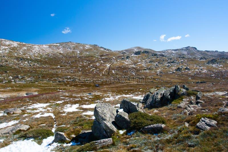 Caminhada de Kosciuszko na cimeira de Thredo foto de stock royalty free