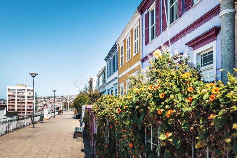 Caminhada de Paseo Atkinson em Cerro Concepción - Valparaiso, o Chile fotos de stock royalty free