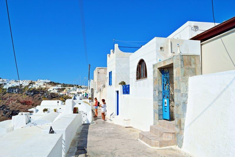 Caminhada de Santorini fotos de stock royalty free