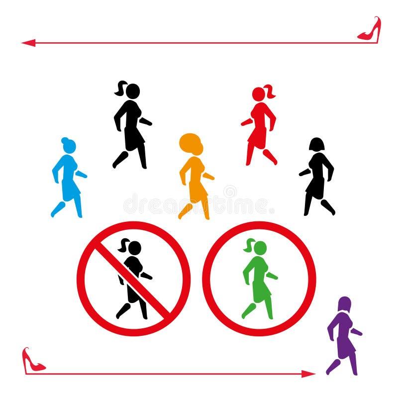 A caminhada do ícone da mulher e don a caminhada do ` t, ajustou-se Símbolo dos povos para trás-branco ou da cor Caminhadas da me ilustração do vetor