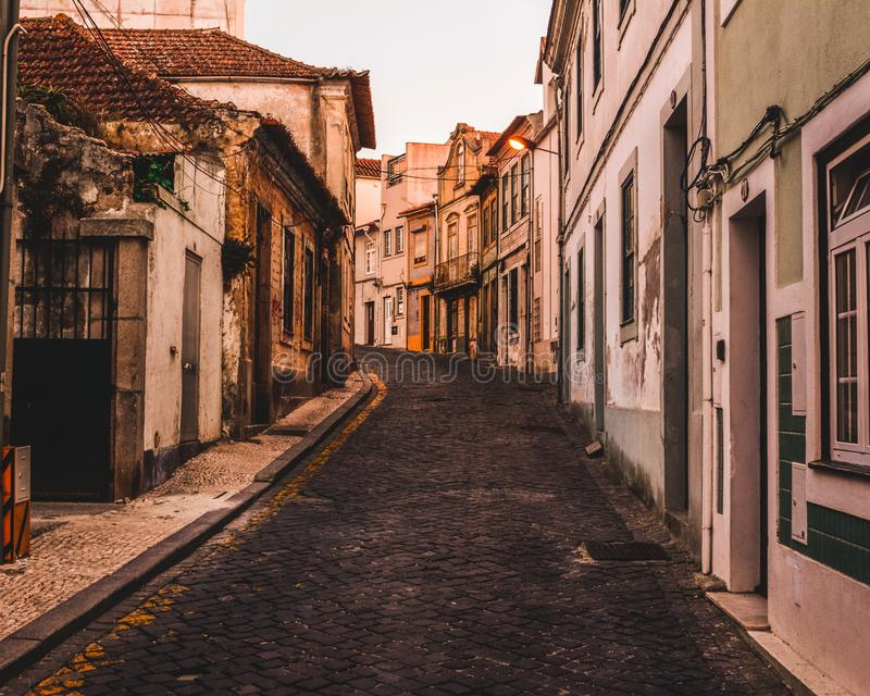 Caminhada do amanhecer em Aveiro, Portugal foto de stock