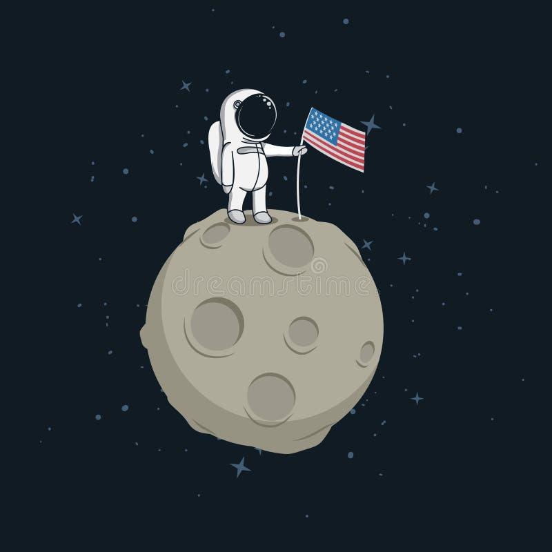 Caminhada do espaço na superfície lunar ilustração do vetor