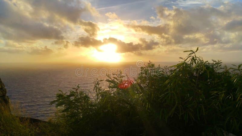 Caminhada do farol em Havaí fotografia de stock