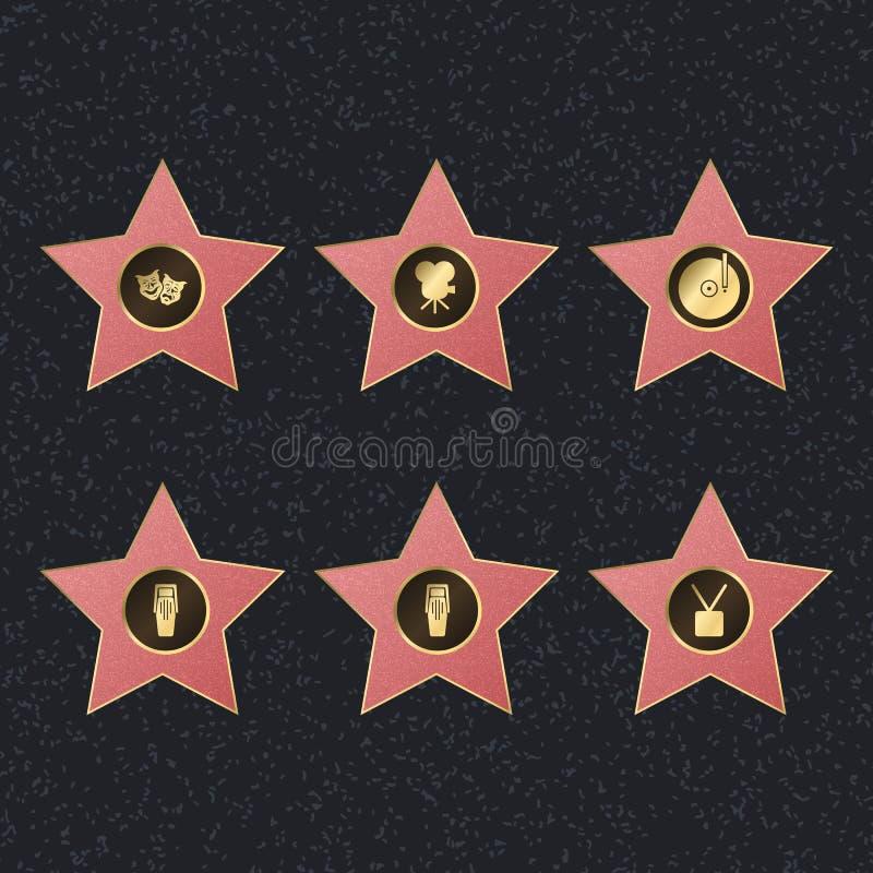 Caminhada do grupo cor-de-rosa da estrela da fama Vetor ilustração stock