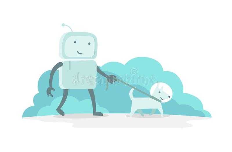 Caminhada do homem do astronauta do caráter do robô com cão em uma trela Ilustração lisa do vetor da cor ilustração do vetor