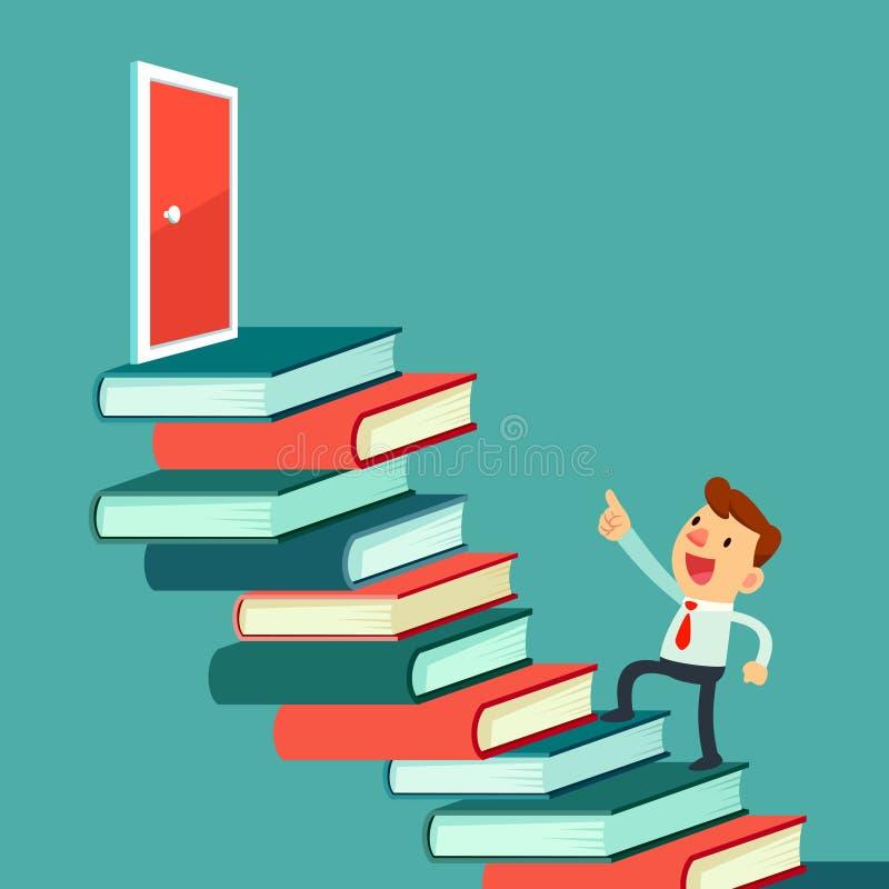 Caminhada do homem de negócios em livros à porta ilustração do vetor