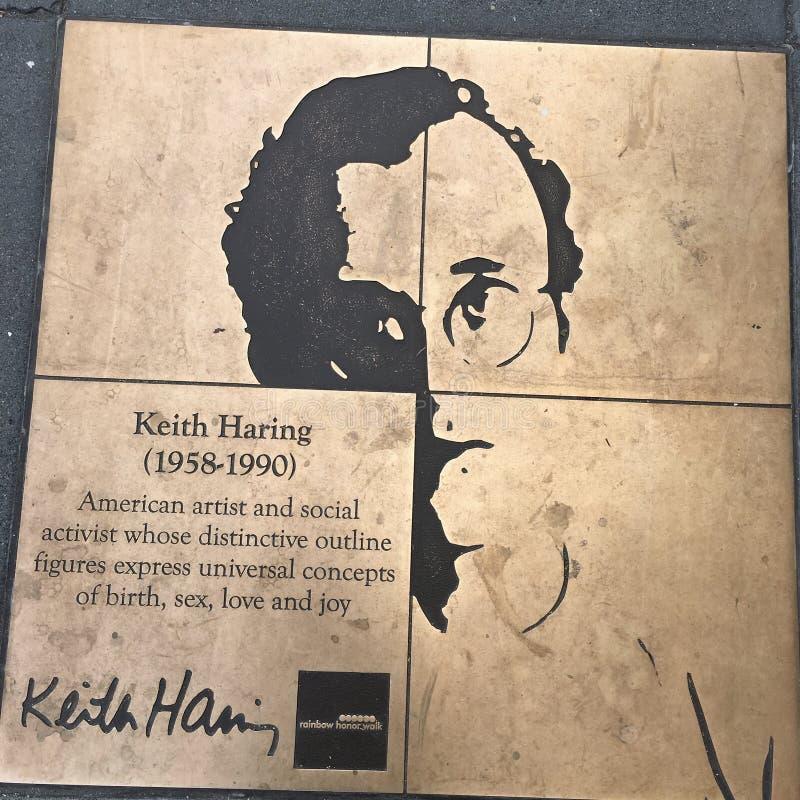 Caminhada do homossexual, a caminhada da honra do arco-íris, Keith Haring imagens de stock royalty free