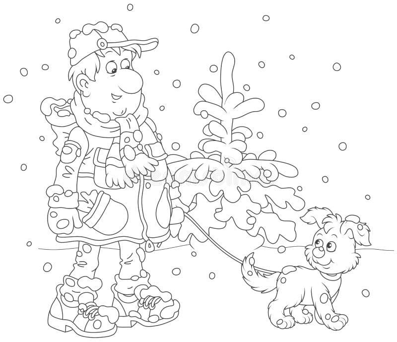 Caminhada do inverno com um cão ilustração do vetor