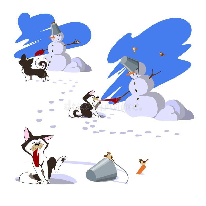 Caminhada do inverno Um cão, um mitene e um boneco de neve foto de stock royalty free