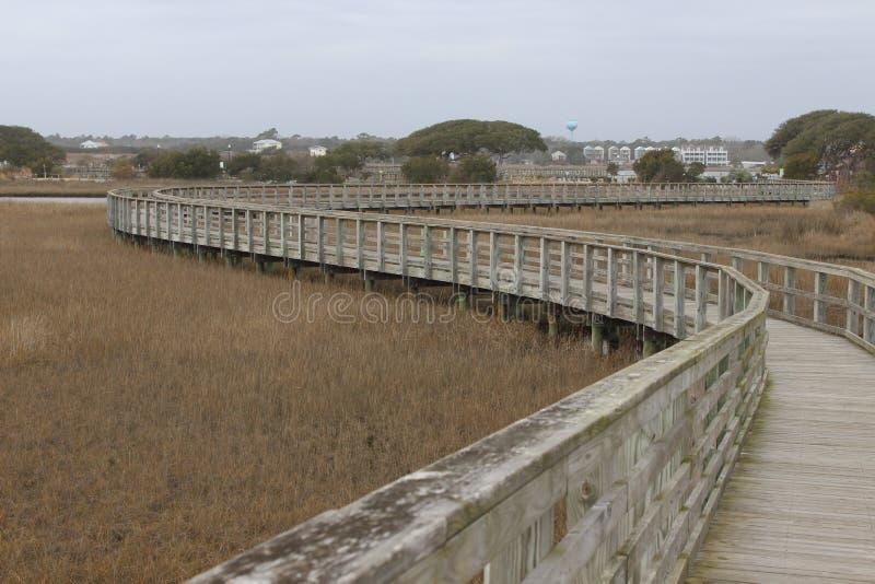 Caminhada do pântano na cidade NC da ressaca fotografia de stock