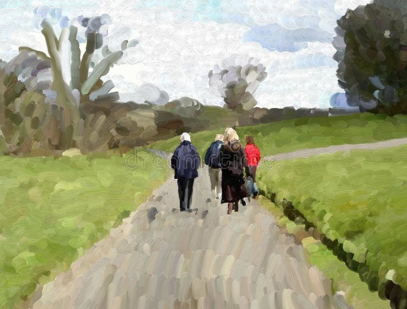 Caminhada do país ilustração do vetor