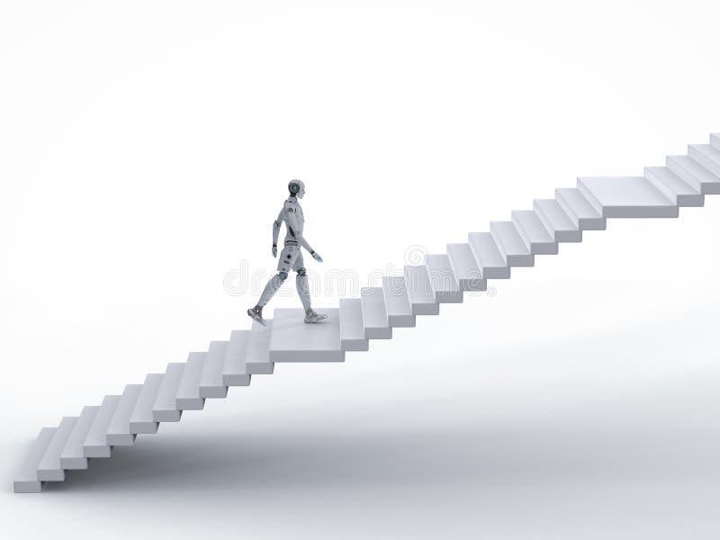 Caminhada do robô acima das escadas ilustração do vetor