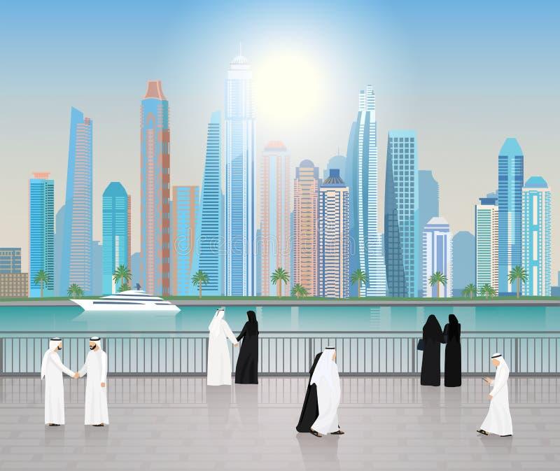Caminhada dos árabes dos arranha-céus de Dubai ao longo da terraplenagem ilustração do vetor