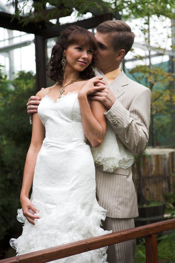 A caminhada dos newlyweds foto de stock
