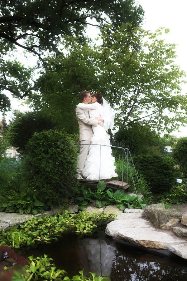 A caminhada dos newlyweds fotos de stock royalty free