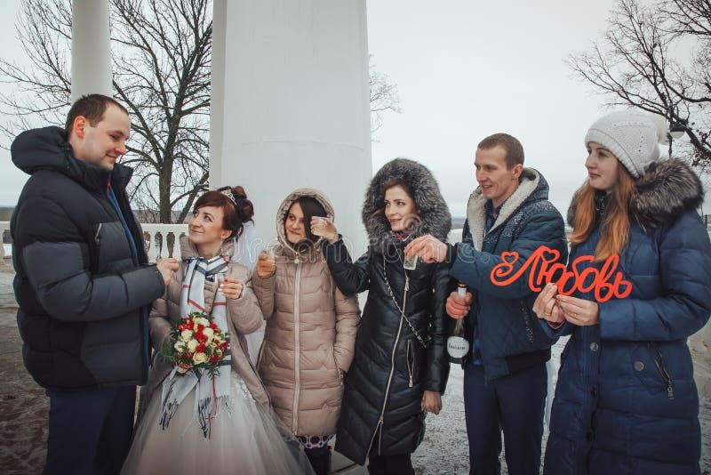 Caminhada dos noivos no parque com amigos em um dia de inverno imagem de stock royalty free