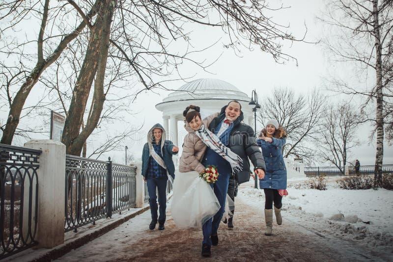 Caminhada dos noivos no parque com amigos em um dia de inverno imagem de stock