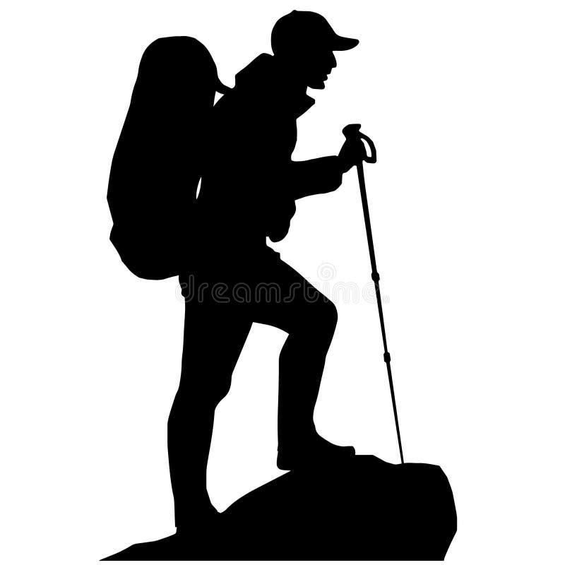 Caminhada e acampamento ilustração royalty free