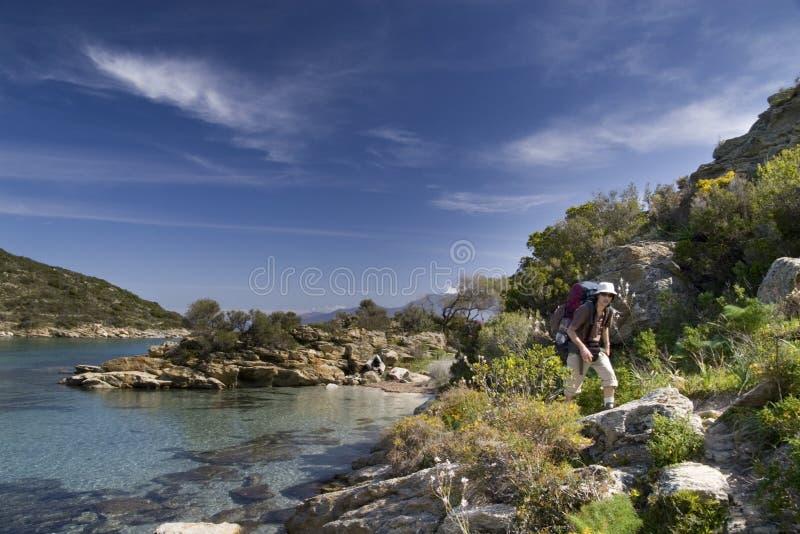 Caminhada litoral, Córsega fotografia de stock royalty free