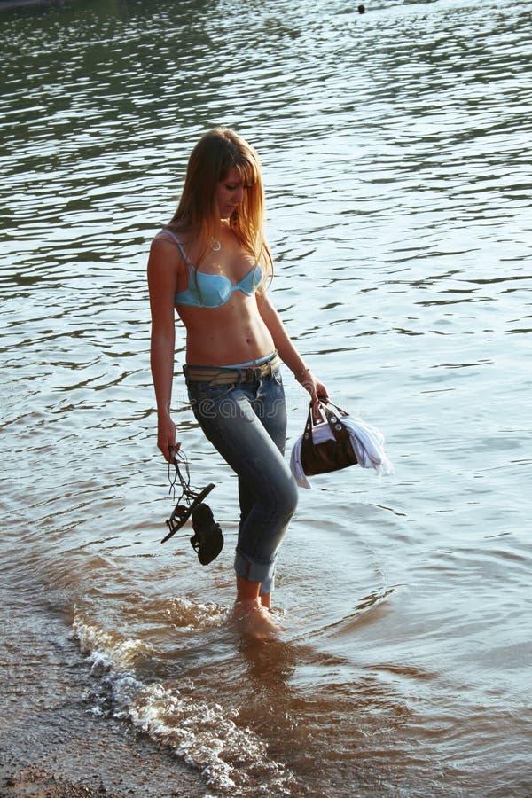 Caminhada na água imagens de stock royalty free